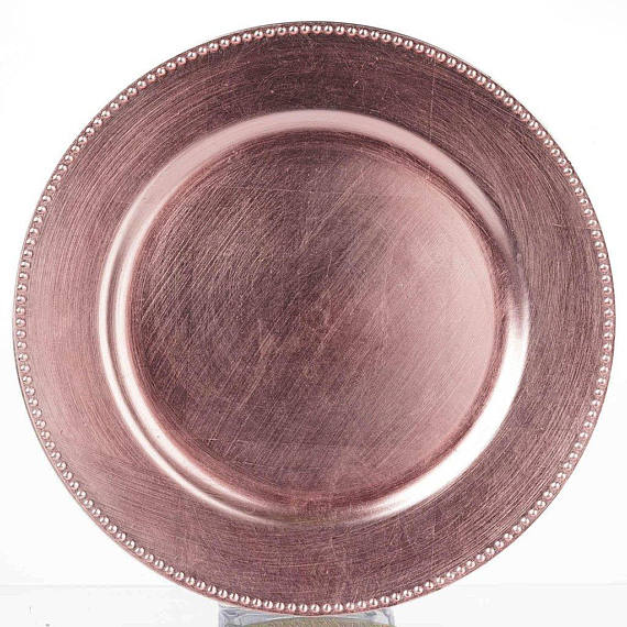 SALE 24 Blush Beaded Acrylic Charger Plates 13  Pink Rose Gold Dinner Servers Plate Chargers  sc 1 st  Pinterest : plastic plate chargers in bulk - Pezcame.Com