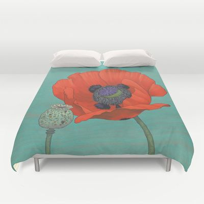 Red Poppy and Pod in Teal Duvet Cover by Kate Halpin  - $99.00