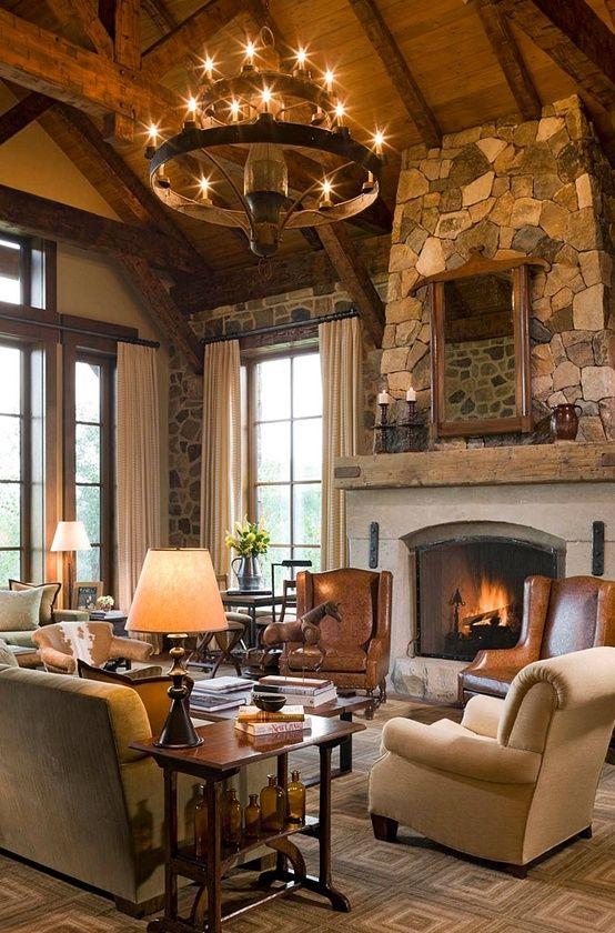 21 Amazing Rustic Living Design   Steinwand