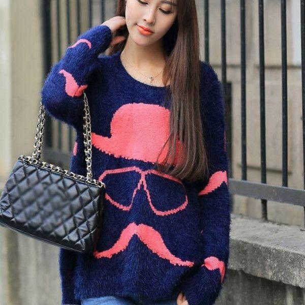 Berrylush Dark Blue Printed Sweater #Sweater