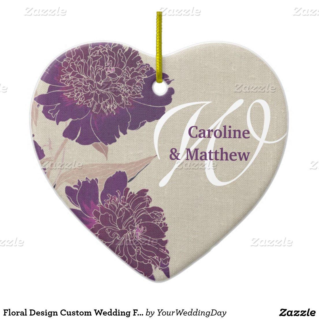Floral Design Custom Wedding Favor Ornaments   Shape, Vintage and ...