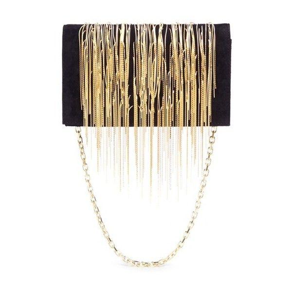 Stuart Weitzman 'Angel Hair' fringe suede chain clutch ($1,165) ❤ liked on Polyvore featuring bags, handbags, clutches, black, stuart weitzman, stuart weitzman purse and stuart weitzman handbag