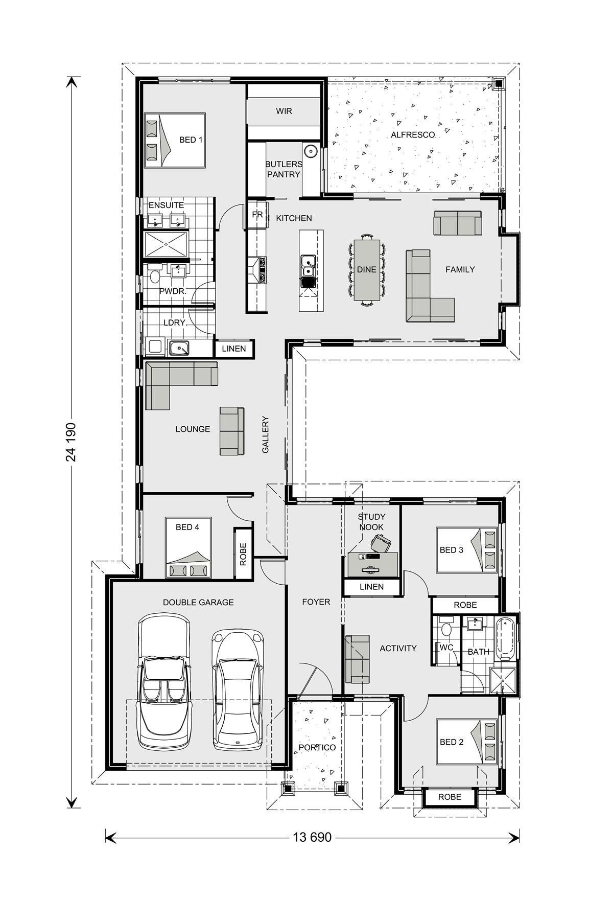 Mandalay 256 Our Designs New South Wales Builder Gj Gardner Homes New South Wales Home Design Floor Plans Contemporary House Plans House Design