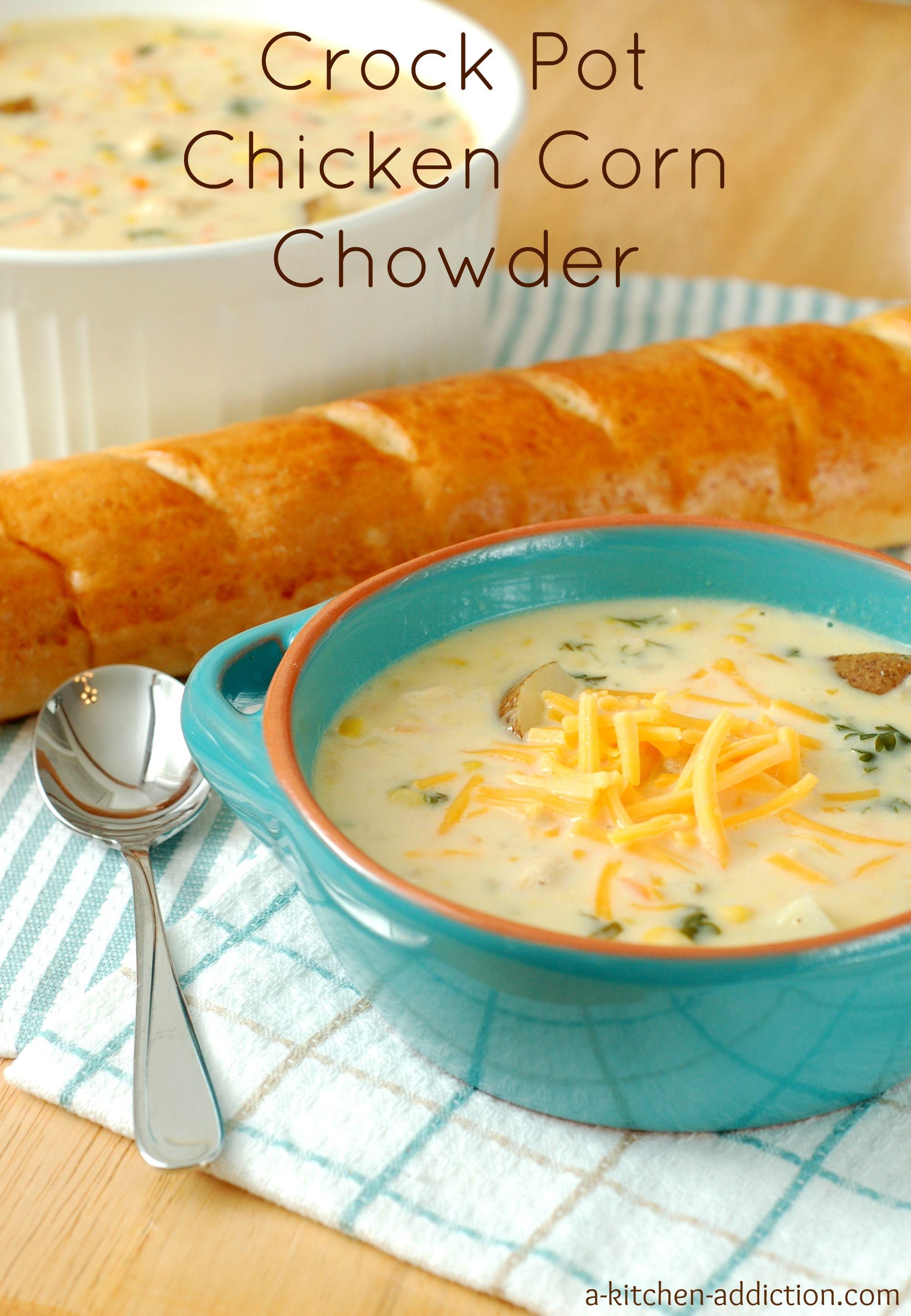 Crock Pot Chicken Corn Chowder from @akitchenaddict