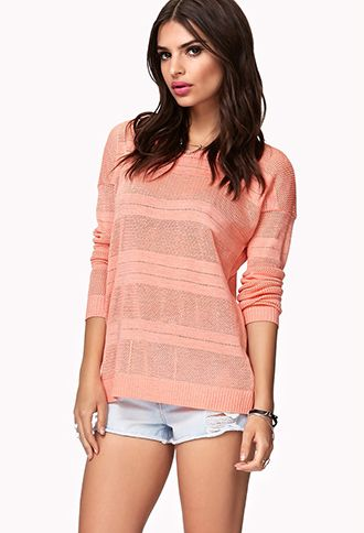 Striped Open-Knit Sweater | FOREVER21 - 2049257140