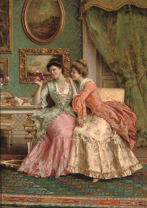 A Good Read. Guglielmo Zocchi (Italian, b.1874). Oil on canvas. | Victorian  paintings, Victorian art, Victorian women