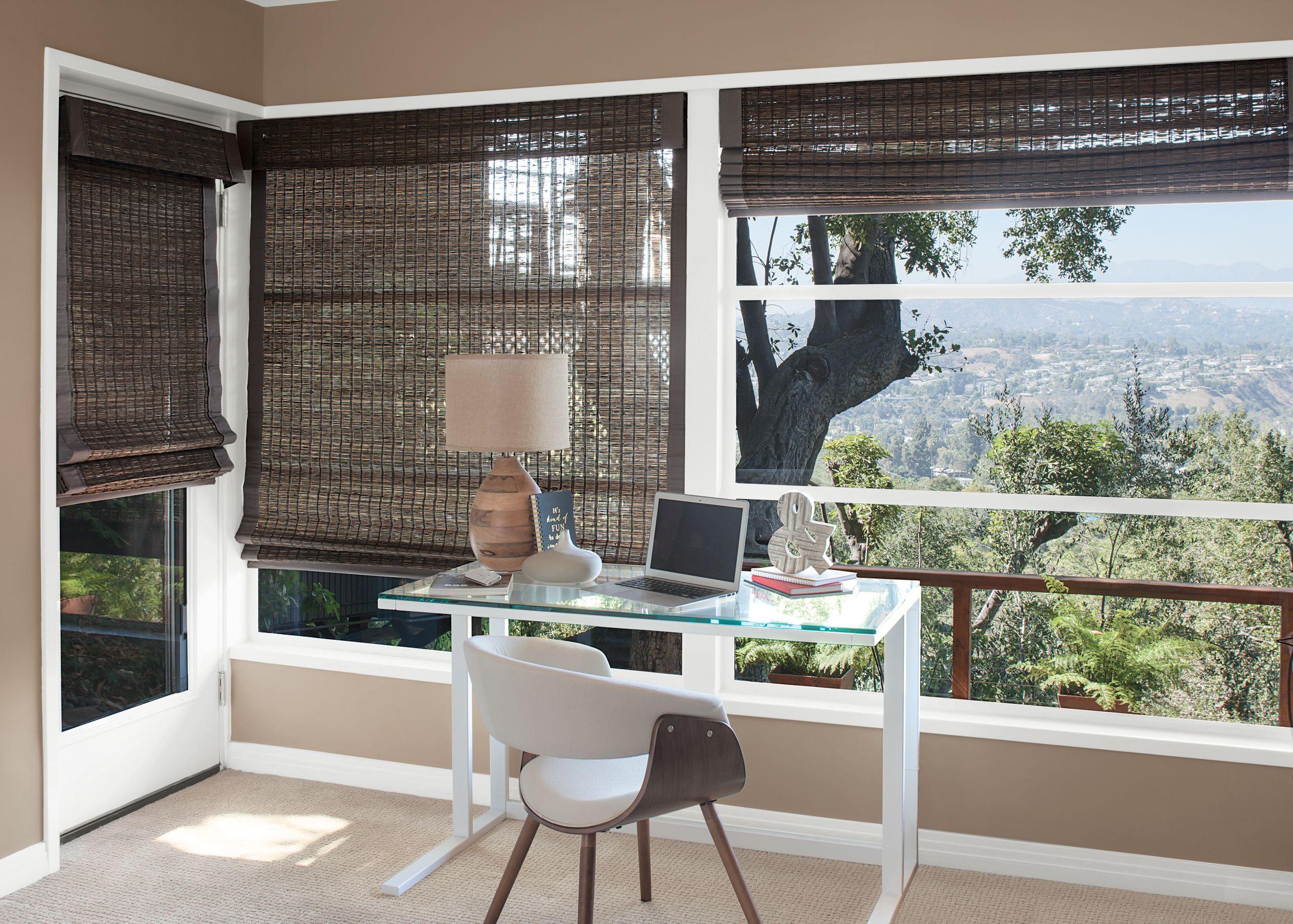 Natural Woven Shades Adding A Sense Of Nature To This Home Office Naturalwovenshades Smithandnoble Smithandnob
