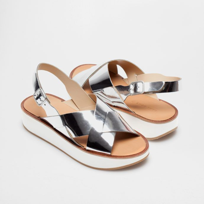 f6e4d60e4bf Sandals 62107  Zara New Home Collection Silver Sandals Platform Size 38 7