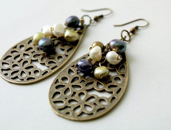 Dangle earrings Brass filigree with by SaraBernhart, $17.00