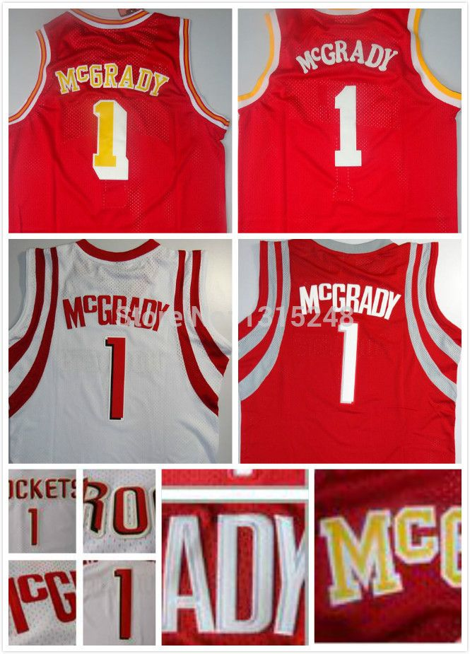 Find More Sports Jerseys Information about Houston 1 Tracy McGrady Jersey, Cheap Basketball Jersey Tracy McGrady Mesh Vintage Throwback Embroidery Logos, Free Shipping,High Quality Sports Jerseys from Json Jerseys Store on Aliexpress.com