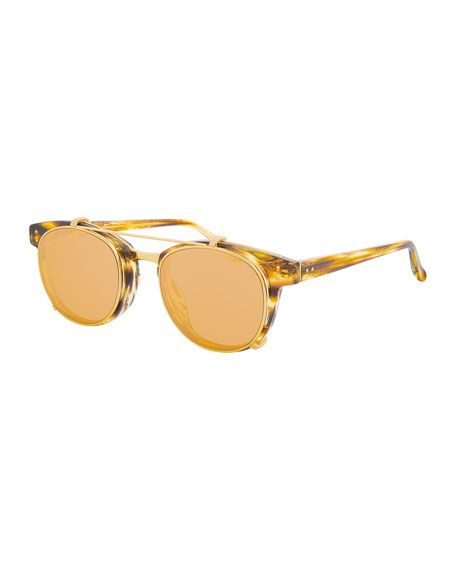 LINDA FARROW Square Acetate Sunglasses W  Clip-On Lenses, Gold Tortoise. 391b7ffe9b0a
