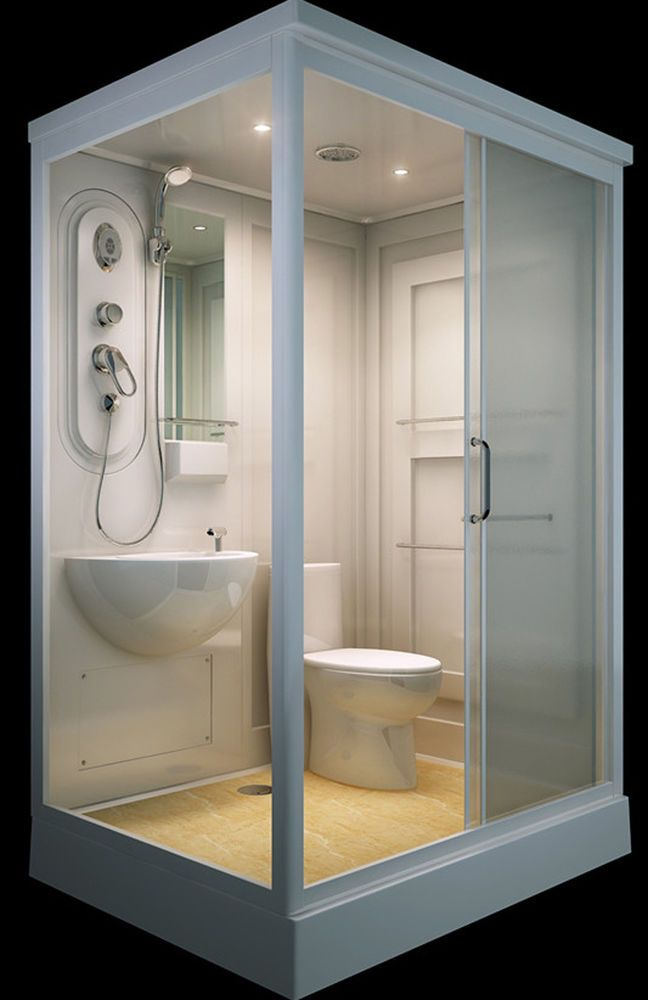 ALL IN ONE Flat Pack Modular Shower Room,Toilet, Basin Assembled ...