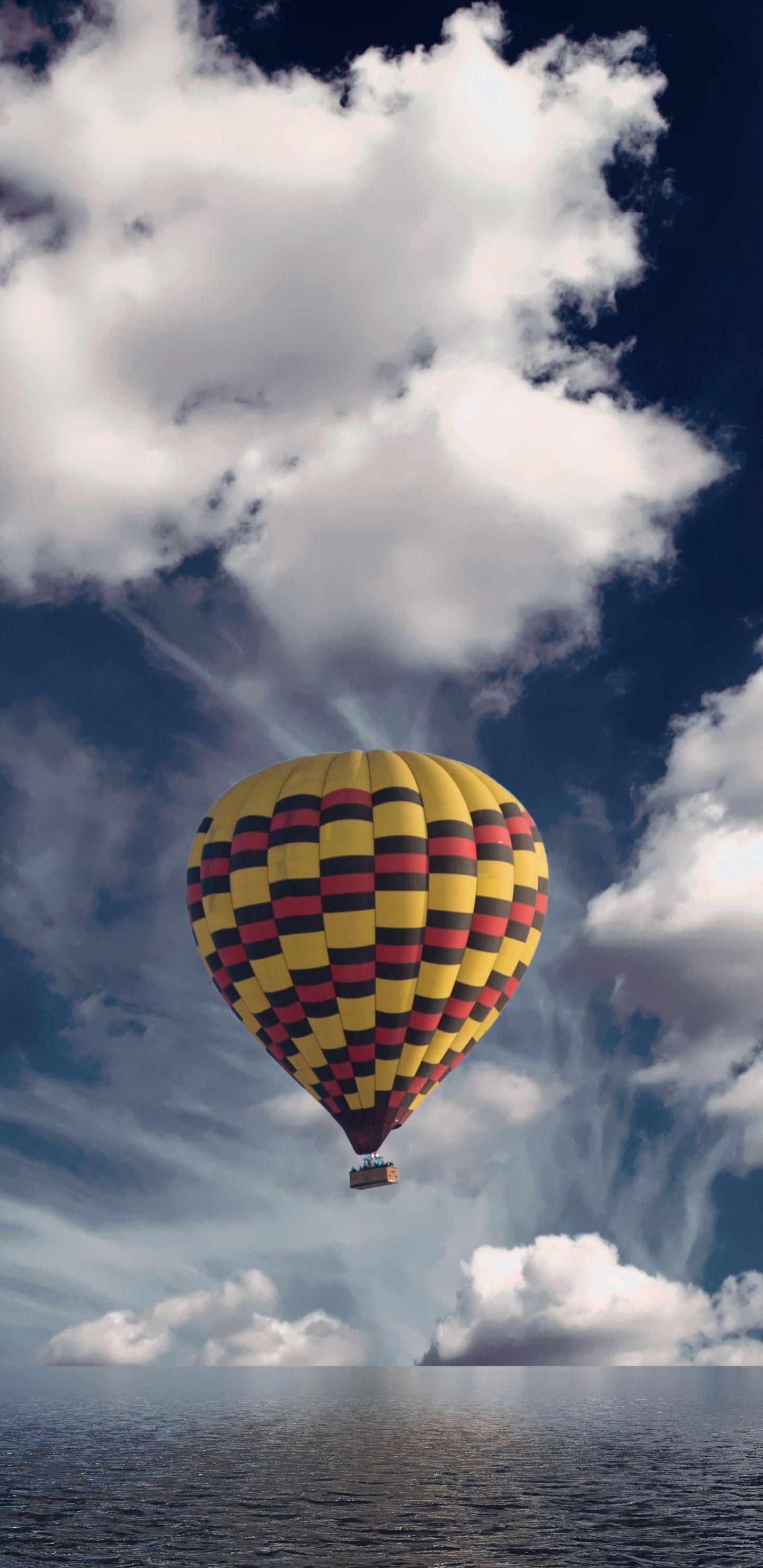 Hot air balloon, sky, clouds, 1440x2960