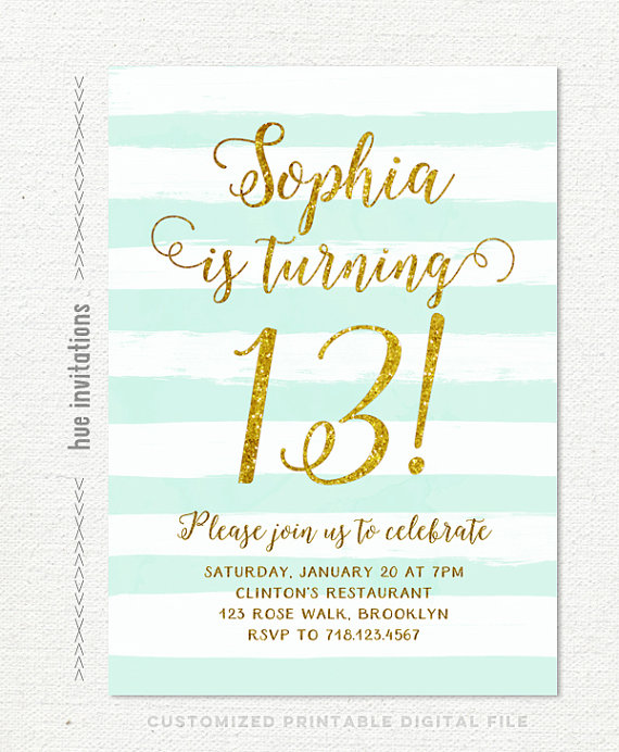 13th birthday invitations girl mint stripes gold glitter printable