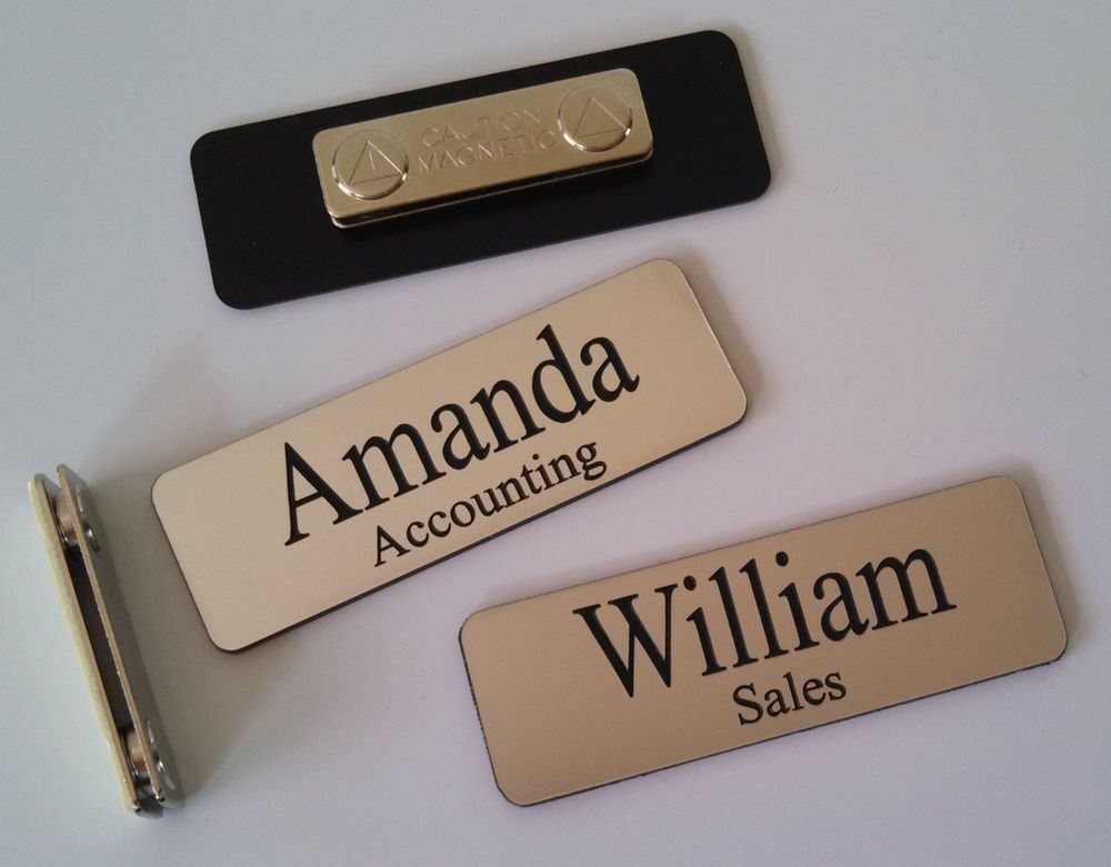 Custom Employee Name Tag smth Silver w Corner Rounds magnet