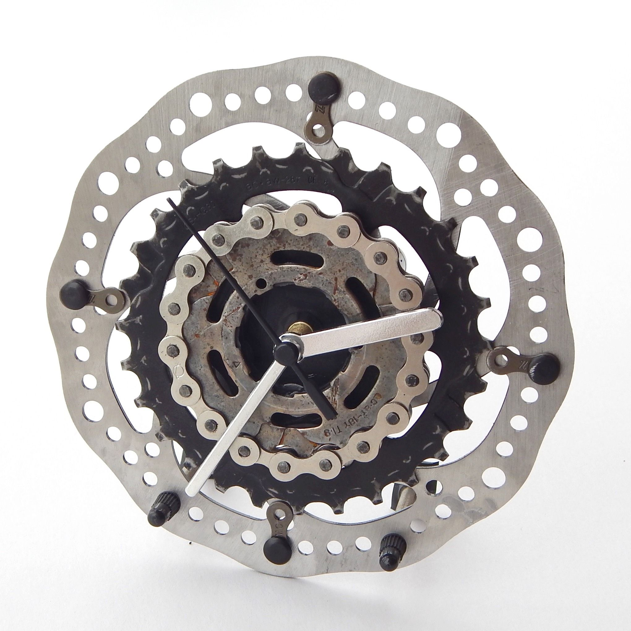 Large recycled bicycle brake rotor cassette desk clock recycle bicycle