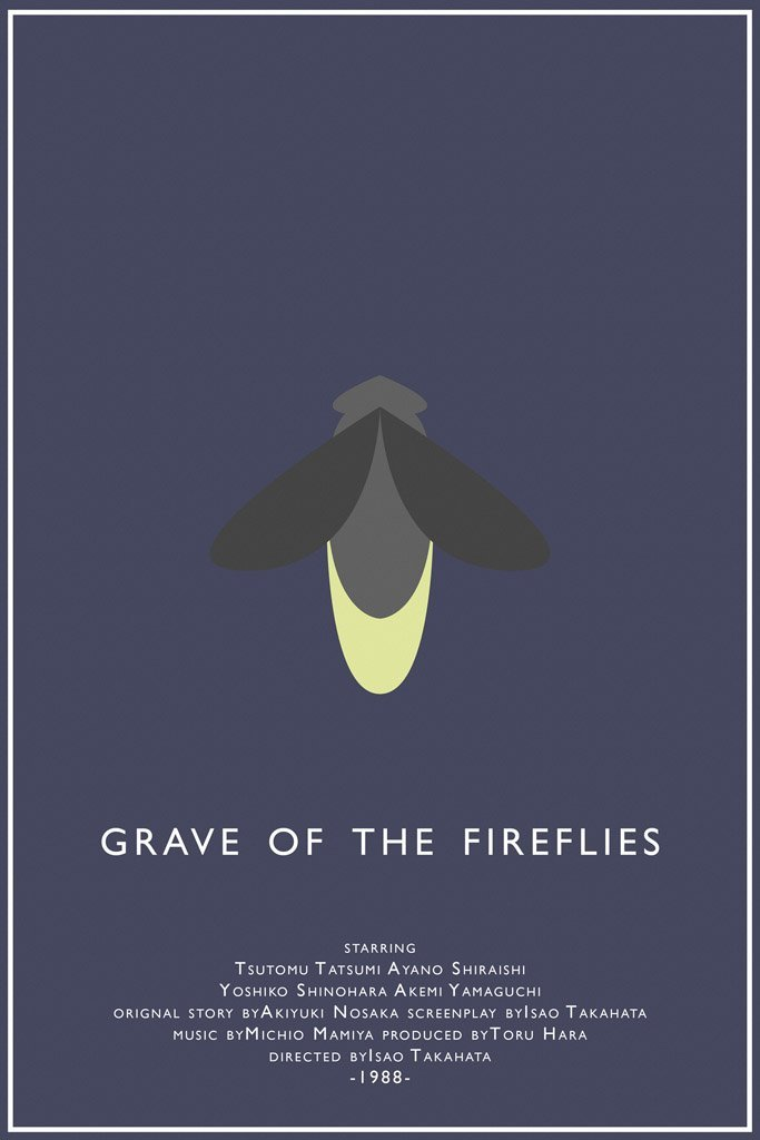 Grave Of The Fireflies 1988 Movie Poster Grave Of The Fireflies Studio Ghibli Movies Indie Movie Posters