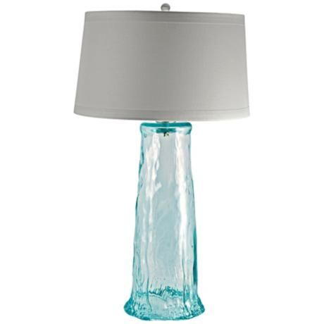 Waterfall Recycled Glass Table Lamp N2180 Lamps Plus Beach House Lamp Glass Waterfall Beach House Interior