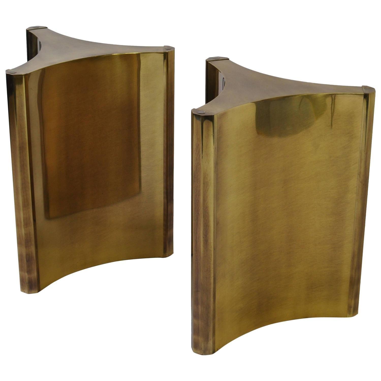 Mastercraft brass dining table - Pair Of Mastercraft Brass Dining Table Pedestals