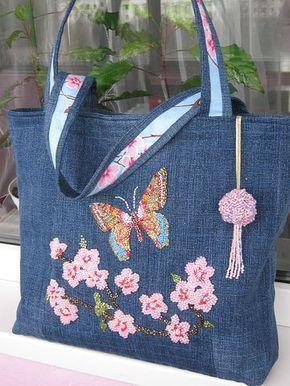 Bolsa em jeans com 100* algodã | Embroidery bags, Patchwork bags