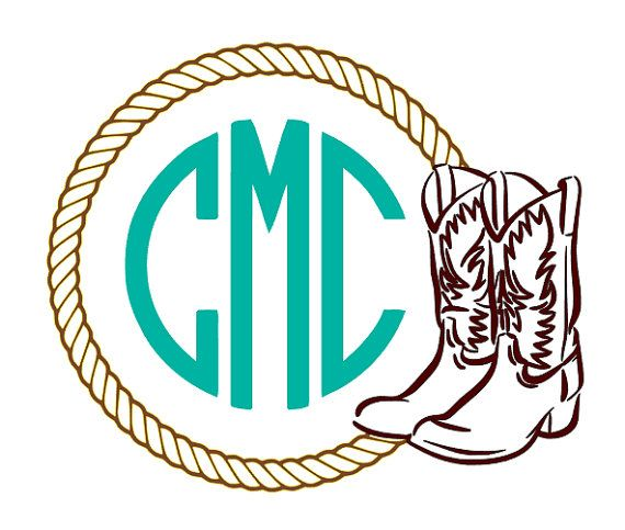 Cowboy Boot And Rope Monogram Decal Cowgirl Boot Monogram Decal