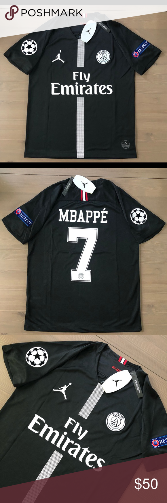 competitive price 19570 81583 PSG Black Jordan Mbappe #7 soccer jersey men PSG Black ...