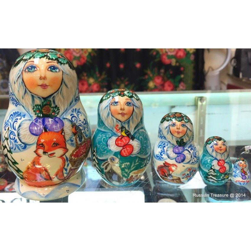 Four Seasons - Winter Design - Matryoshka Nesting Dolls