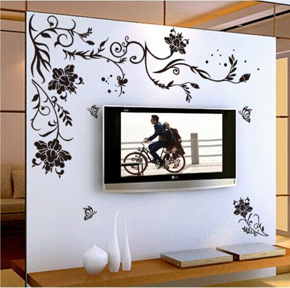 Black Flower Vine Butterfly Vinyl Wall Stickers Home Decor Rooms .