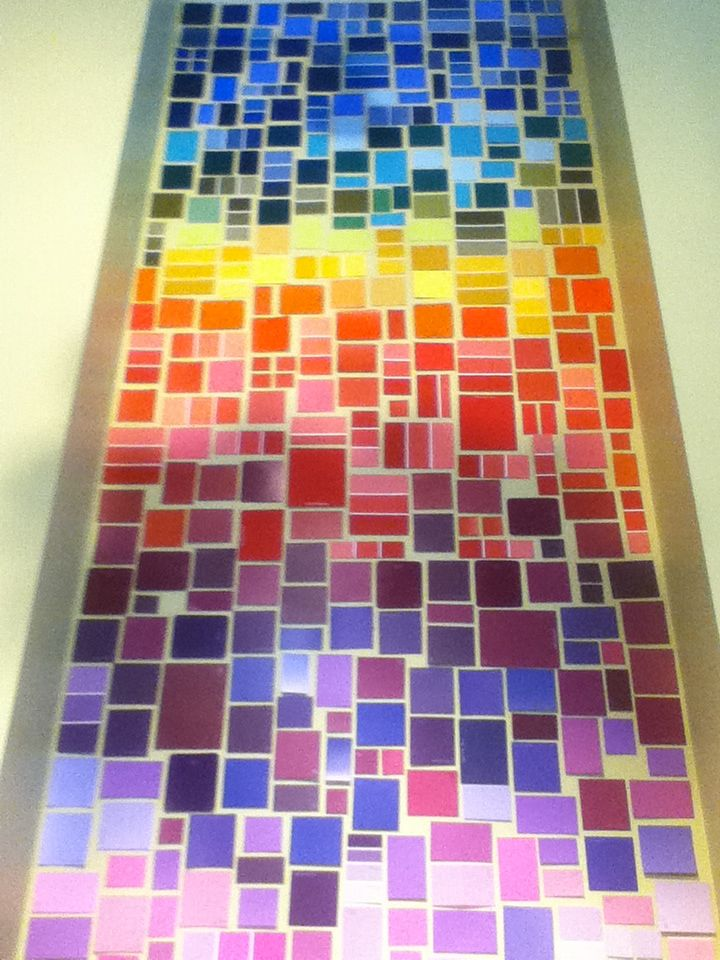 Never buy paint again cover your wall in a creative art master piece using paint swatches