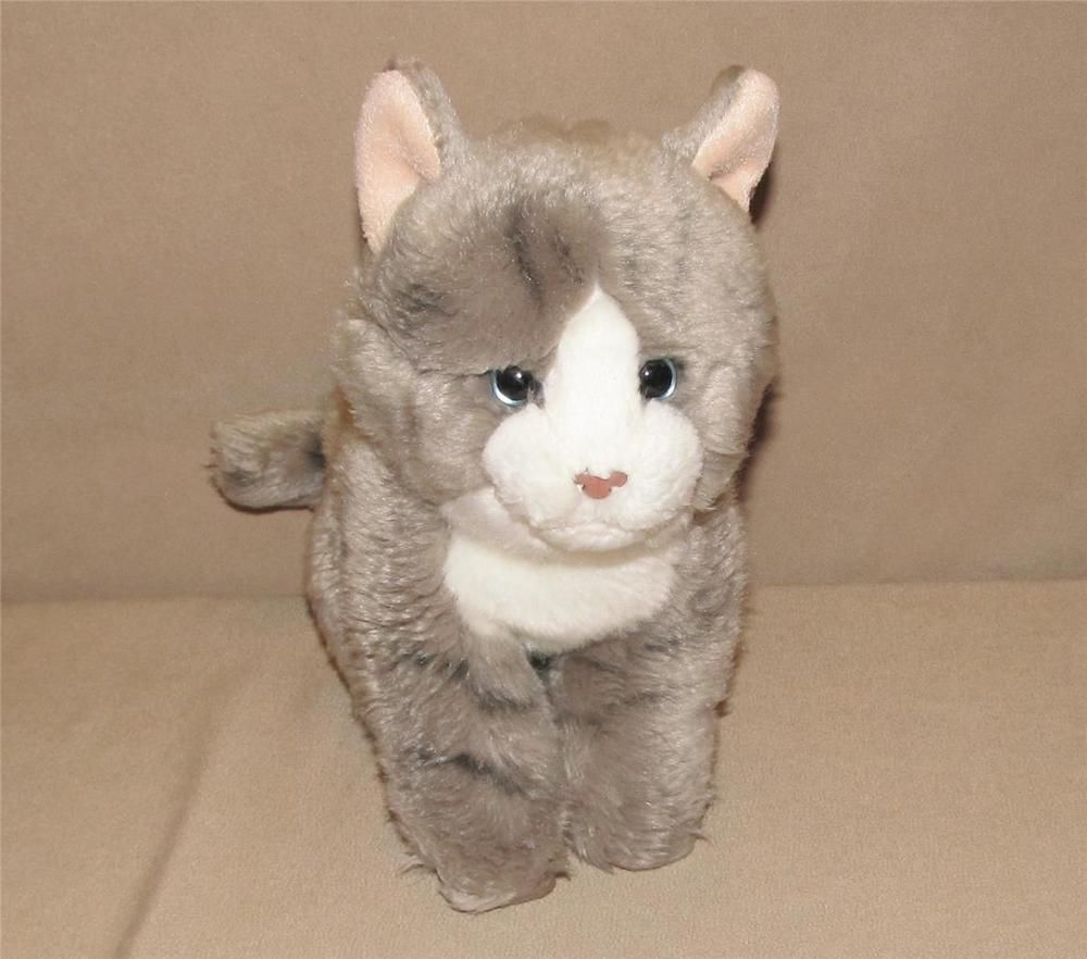 Toys R Us Gray And White Striped Cat Plush 9 Stuffed