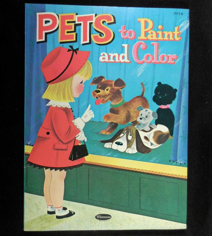 Vintage 1961 Whitman Coloring Book, PETS TO PAINT & COLOR, Unused ...