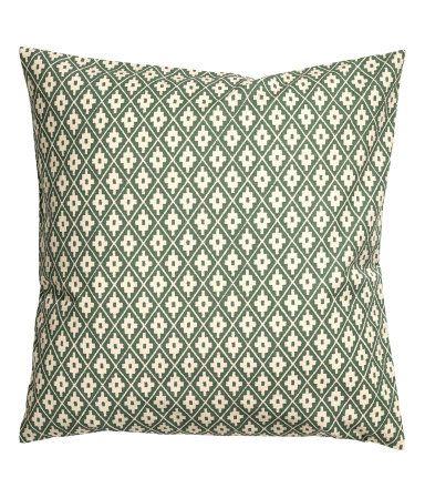 naturwei moosgr n kissenh lle aus baumwolle mit musterdruck verdeckter rei verschluss. Black Bedroom Furniture Sets. Home Design Ideas