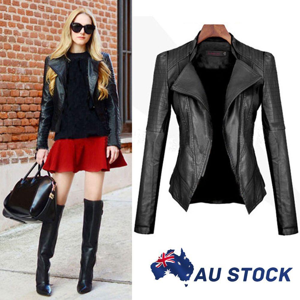 Slim Fit Women Black Biker Motorcycle Synthetic PU Leather
