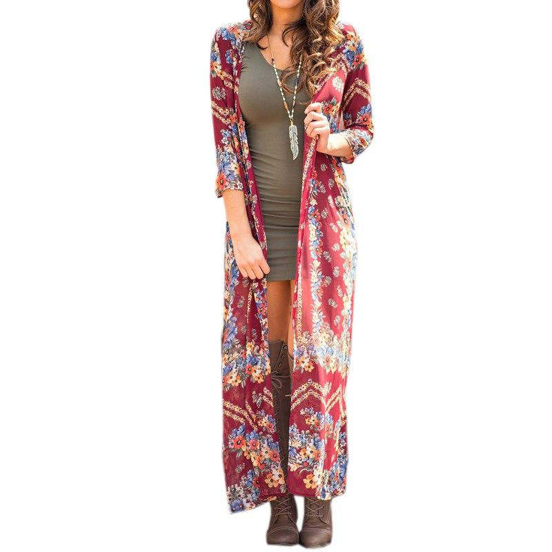 21b5716ad582f2 2017 Fashion Women Boho Floral Printed Kimono Full-length Kaftan Open Front  Long Maxi Tops Jacket Chiffon Cardigan