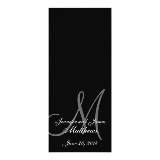 Wedding Church Program Monogram Black \ White Wedding church - church program