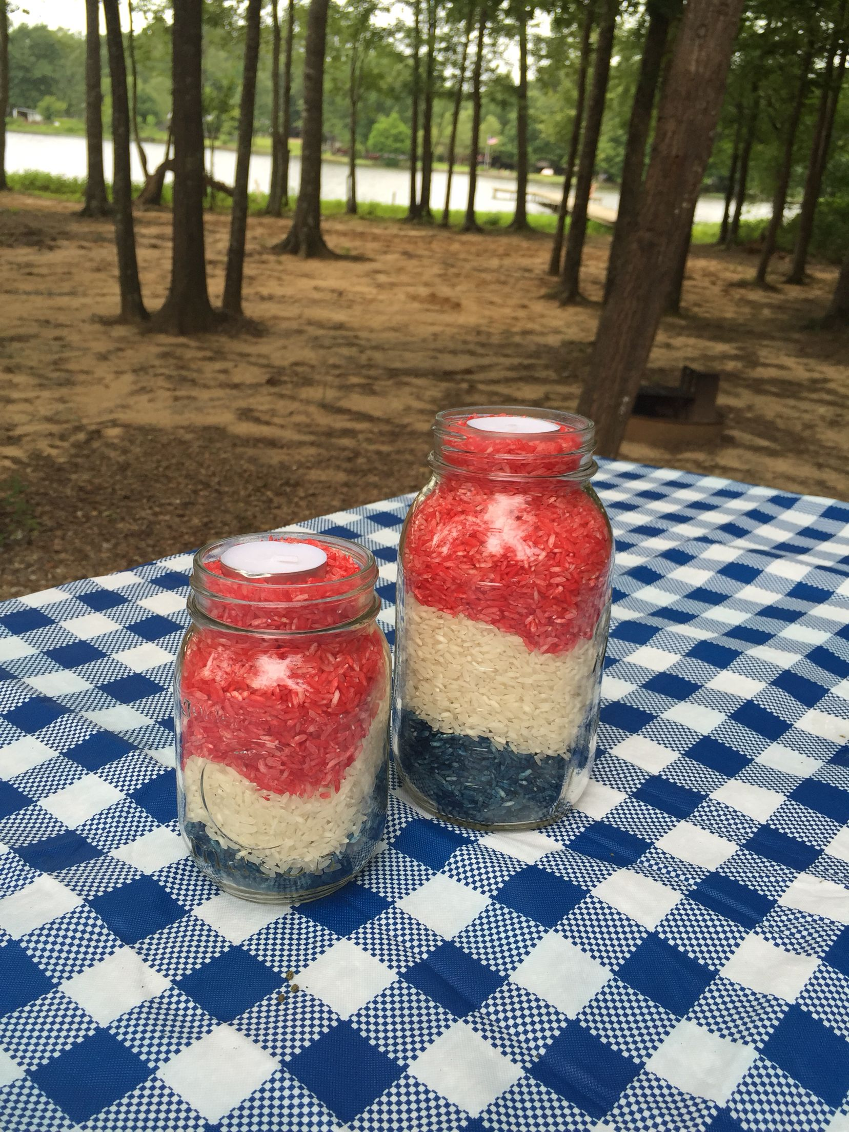 Rice candle holders with tealights. Ole Miss. July 4