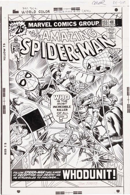 John Romita Sr The Amazing Spider Man 155 Cover Original Lot 42435 Heritage Auctions Comic Books Art Romita Spiderman