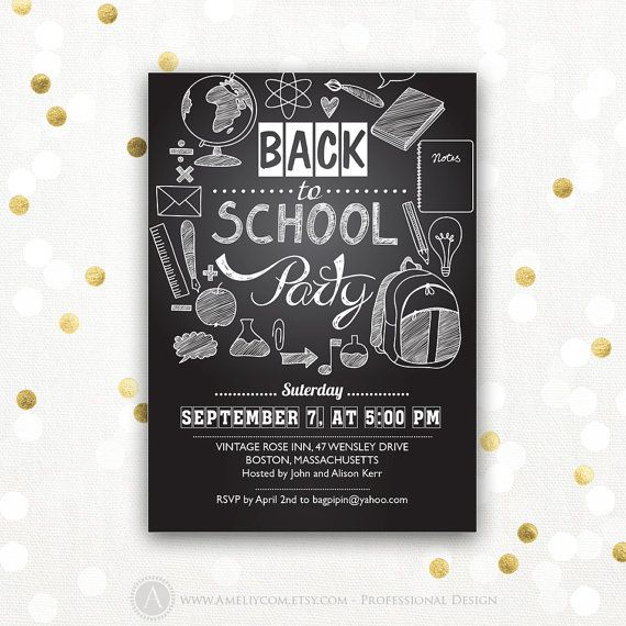 back to school invitation back to school party printable. Black Bedroom Furniture Sets. Home Design Ideas