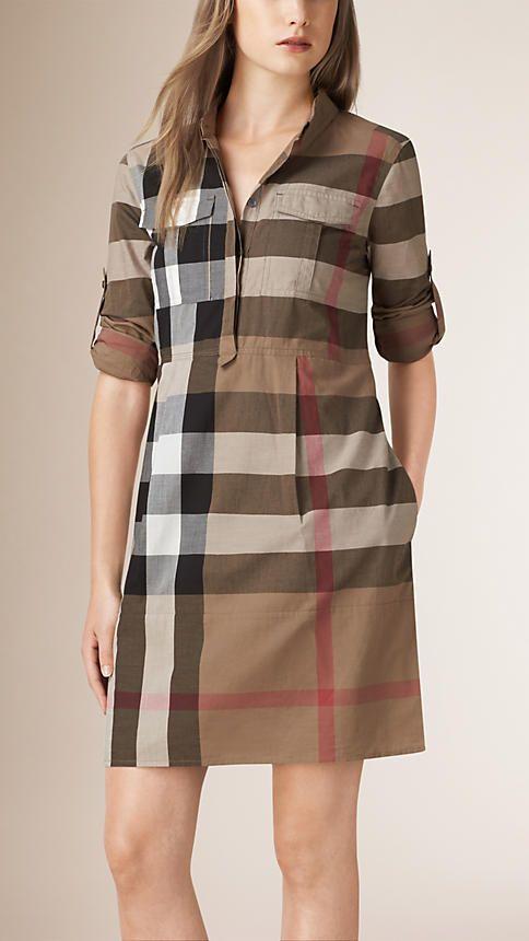 b5a5483dca4 Taupe brown Check Cotton Shirt Dress - Image 1