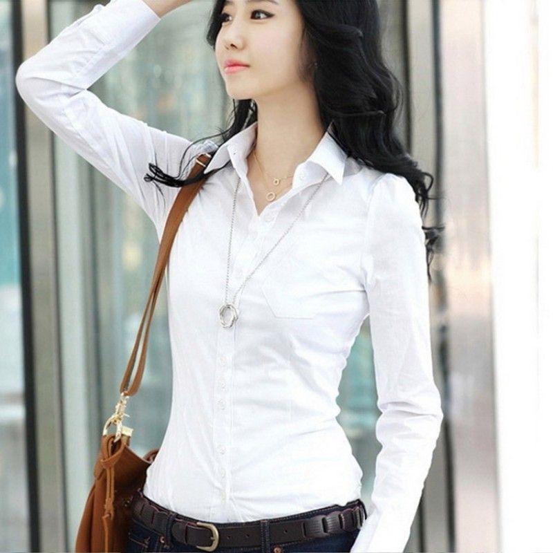 49f6807d0ae Spring Autumn Women Career White Shirt Female Long-sleeved Slim Shirt  Formal Blouse Overalls Large Size