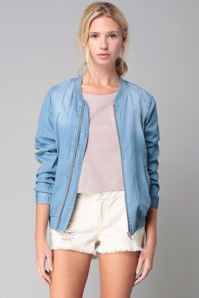 Veste denim zippée Kara Bleu Vila sur MonShowroom.com