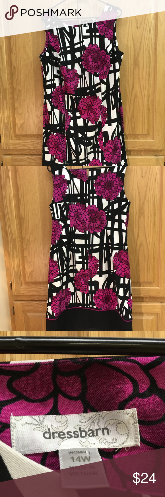 Dress Barn sleeveless dress - 14W Dress Barn sleeveless dress - 14W  Floral print.  Black, white with fuscia flowers.  37 collar to hem.  Approx. 42 bust.  Gently used with no flaws.  See photos for details Dress Barn Dresses #blacksleevelessdress