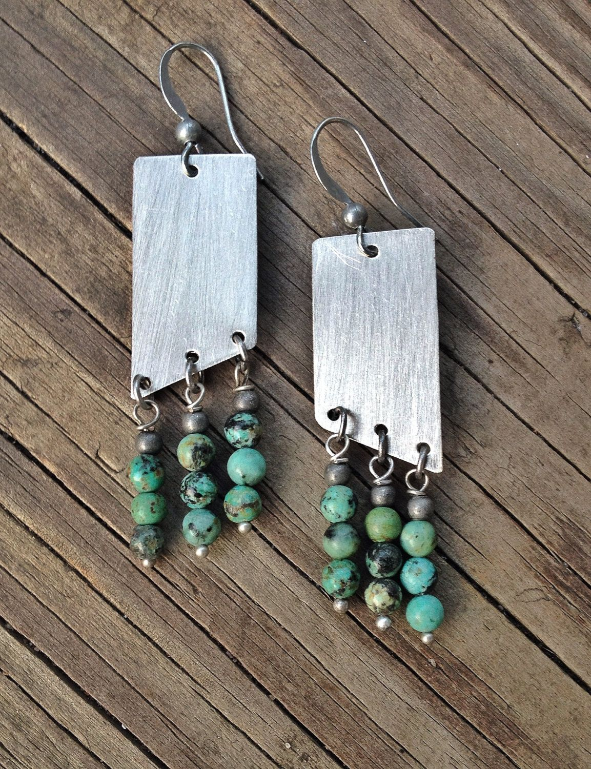 Turquoise+Jewelry+/+Turquoise+Earrings+/+Geometric+by+Lammergeier,+$32.00