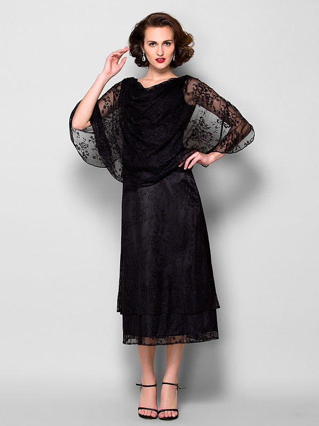 Vestido de Madrina - Negro Corte Recto Hasta la Tibia - Manga 1/2 Encaje - USD $ 119.99