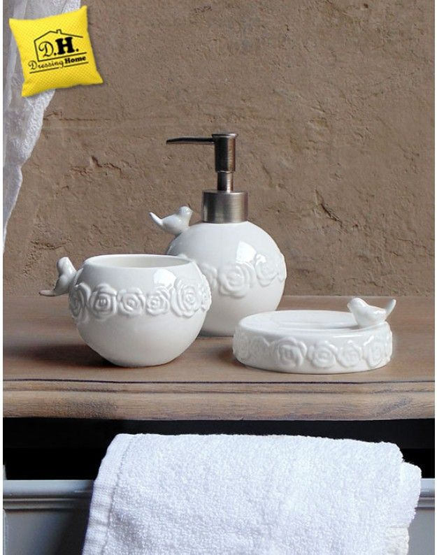 Set da Bagno Shabby Chic in ceramica Garden Collection Blanc ...