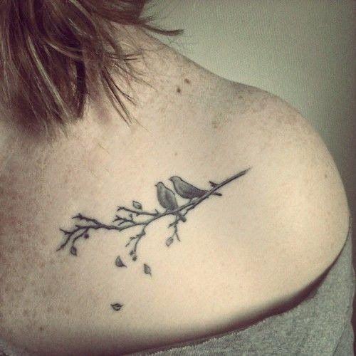 Birds On Branch Tattoo On Collarbone Collar Bone Tattoo Neck Tattoo Trendy Tattoos
