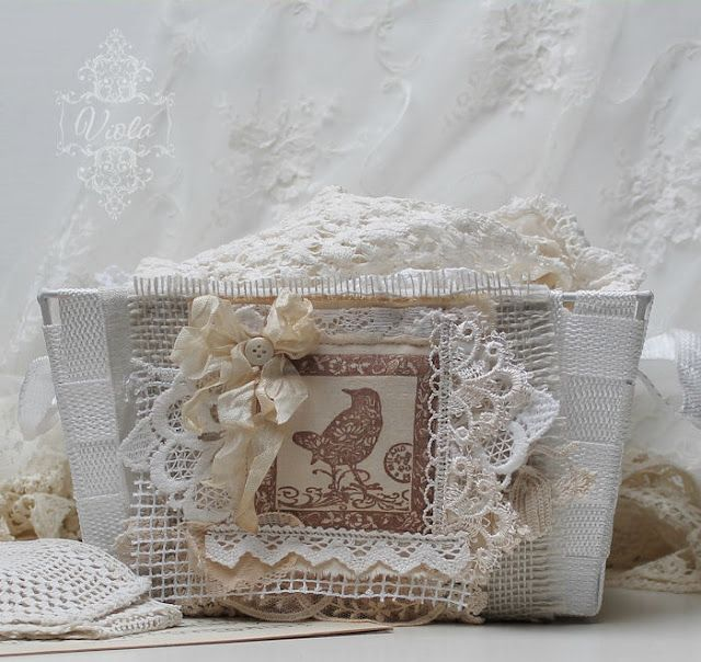 Shabby Chic Inspired vintage lace bird journal