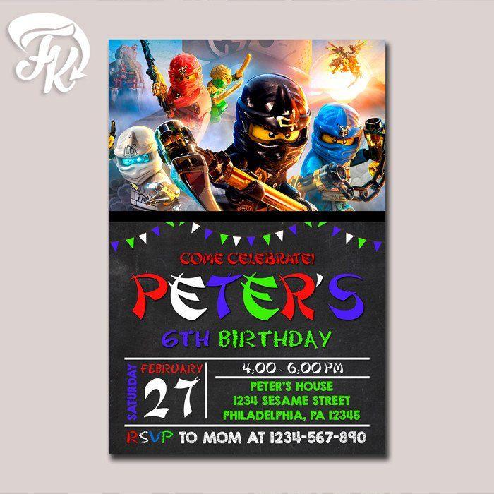 A Lego Ninjago Birthday Party: Lego Ninjago Chalkboard Birthday Party Card Digital