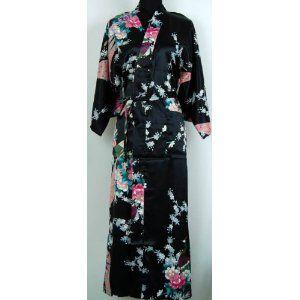 Shanghai Tone® Lingerie Kimono Robe Sleepwear Gown Black One Size,$22.40