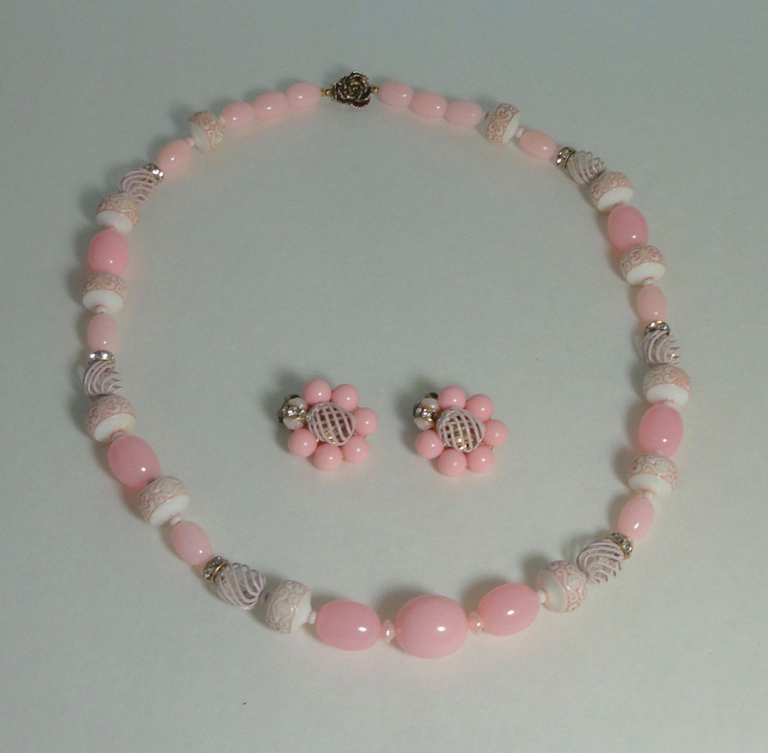 Vintage  Pink and White Lucite with Cage metal Beads Necklace/Earrings Set. by Cosasraras on Etsy